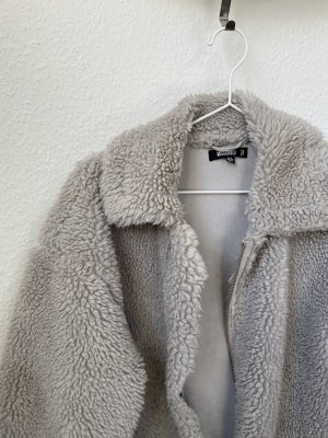 Missguided Futrzana kurtka jasnoszary-szary