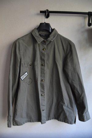 Zara Basic Veste safari gris vert