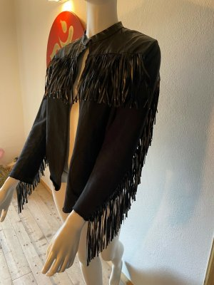8PM Leather Jacket black-ocher mixture fibre