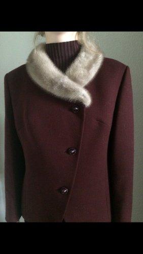 Vintage Veste de fourrure bordeau-brun rouge laine