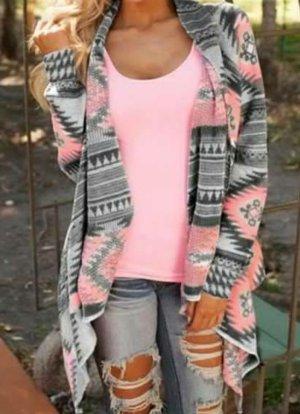 Veste chemise gris clair-rosé