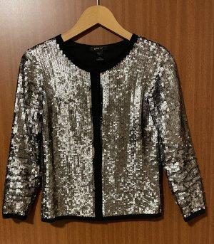 Jacke Pailletten Mango Suit Gold Schwarz Gr. 34 XS