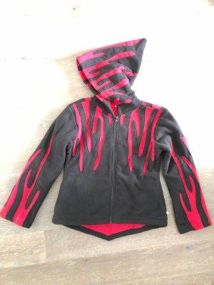 Jacke Polarfleece schwarz rot Elfenkaputze Gr.XS