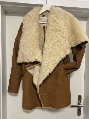 Pull & Bear Veste en fourrure crème-brun