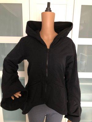 Jacke schwarz Canvas Baumwolle Elfenkaputze gefüttert Fleece Gr.XL 40/42