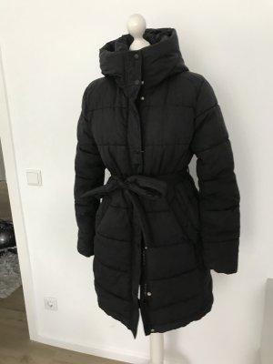 Jacke schwarz daunenjacke bequem gurtel