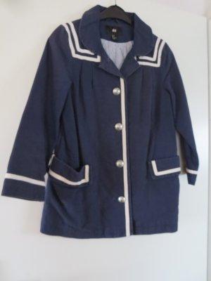 H&M Oversized Jacket dark blue-white