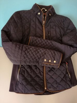 Zara Woman Quilted Jacket dark blue-gold-colored