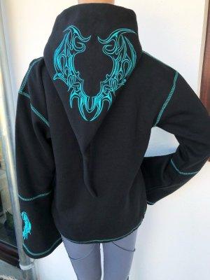 Jacke Sweatjacke schwarz Bestickung türkisblau Zipfelkapuze Gr.40/42 Reißverschluß 2 Taschen