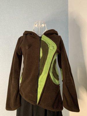 Moshiki Giacca con cappuccio verde chiaro-marrone