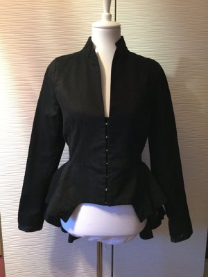 Long Jacket black-silver-colored cotton