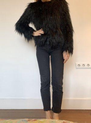 Topshop Giacca in eco pelliccia nero