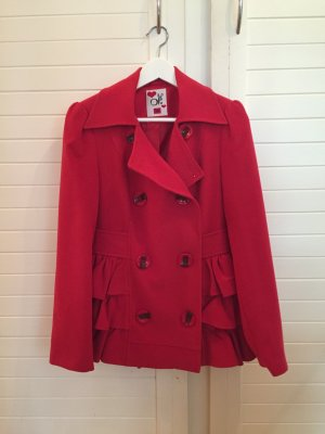 Jacke Trenchcoat Mantel Rot Volants Rüschen Rockabilly 36 S rot
