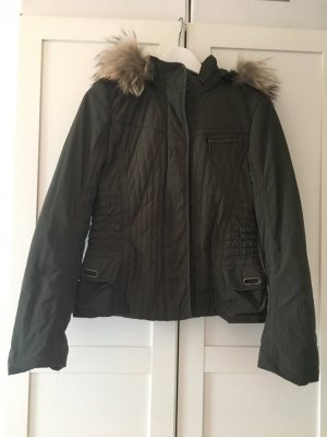 Jacke Ubergangsjacke gesteppt echt Fell an der Kapuze Laurel Gr.36 Farbe olive grün