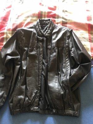 100% Fashion Giacca in pelle nero