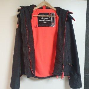 Superdry Giacca sport grigio-arancio neon
