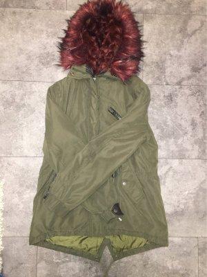 Tally Weijl Fake Fur Jacket khaki-bordeaux