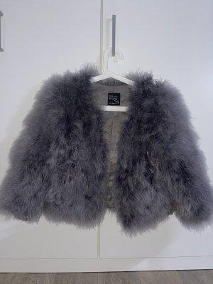 Welovefurs Veste de fourrure gris