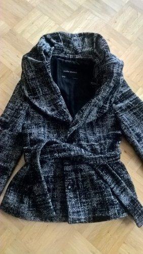 Zara Marynarska kurtka biały-czarny Tkanina z mieszanych włókien