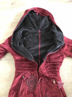 Handmade Veste à capuche rouge carmin-noir