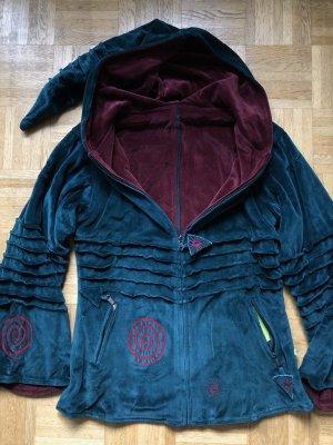 Handmade Veste à capuche bleu pétrole-rouge carmin