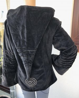 Jacke Wendejacke Nicki schwarz Bestickung Spirale Gr.38/40 Zipfelkapuze 2 Taschen Reißverschluß
