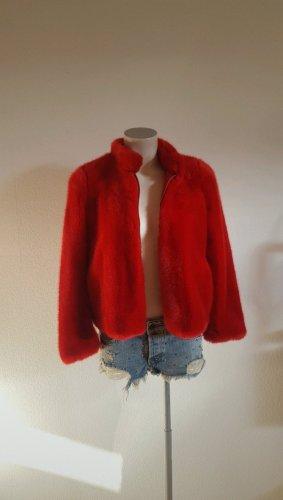 Zara Fake Fur Jacket red