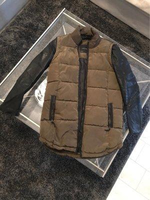 Jacke Zara Khaki Leder Stoff M 38