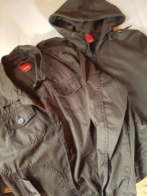 Esprit Podwójna kurtka ciemnobrązowy Bawełna