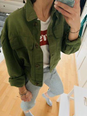 Pull & Bear Denim Jacket dark green-forest green