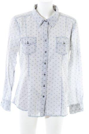 Jackpot Hemd-Bluse weiß-blau Allover-Druck Casual-Look