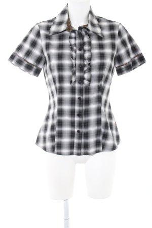 Jackpot Kurzarm-Bluse weiß-schwarz Allover-Druck Casual-Look