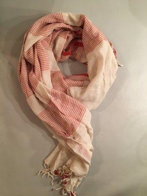 JACKPOT Schal wollweiß  rot gestreift, NEU und ungetragen