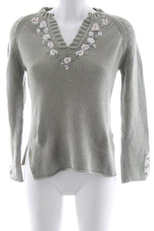 Jackpot Maglione lavorato a maglia verde-grigio motivo floreale look vintage