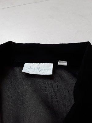 Jackpot transparente schwarze Bluse mit schwarzer Stickerei in Größe 1