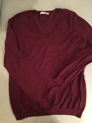 Jackpot Maglione con scollo a V rosso scuro Tessuto misto