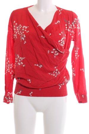 Jackpot Wickel-Bluse rot-wollweiß Blumenmuster Casual-Look