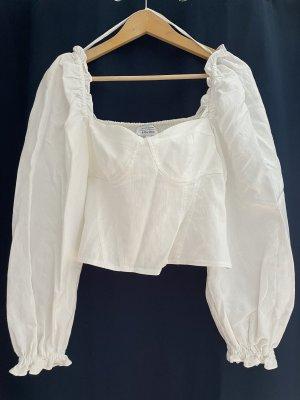 Jacquard-Bluse mit Puffärmeln und Korsettdetails