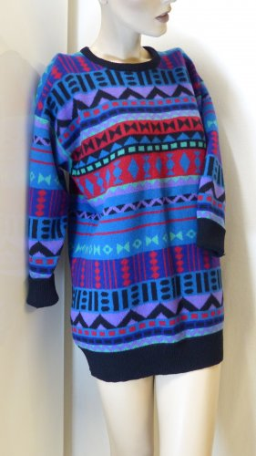 Jacquard-Pullover, 3/4 Arm, 100% Lambswool, Gr. M (34 bis 38)