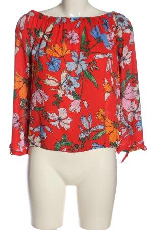 Jacqueline de Yong Carmen blouse rood-blauw volledige print casual uitstraling