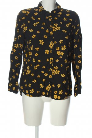 Jacqueline de Yong Hemd-Bluse schwarz-blassgelb Allover-Druck Casual-Look