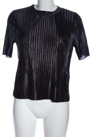 Jacqueline de Yong Kurzarm-Bluse schwarz Streifenmuster Casual-Look