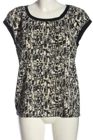 Jacqueline de Yong Kurzarm-Bluse schwarz-creme abstraktes Muster Casual-Look