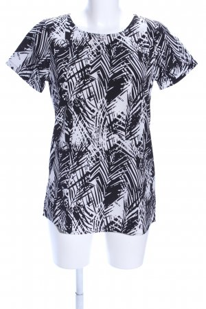 Jacqueline de Yong Kurzarm-Bluse schwarz-weiß abstraktes Muster Casual-Look