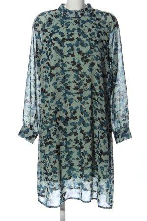 Jacqueline de Yong Langarmkleid blau-schwarz Allover-Druck Casual-Look