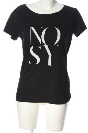 Jacqueline de Yong T-Shirt schwarz-weiß Schriftzug gedruckt Casual-Look
