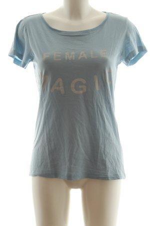 Jacqueline de Yong T-Shirt blau-wollweiß Schriftzug gedruckt Casual-Look