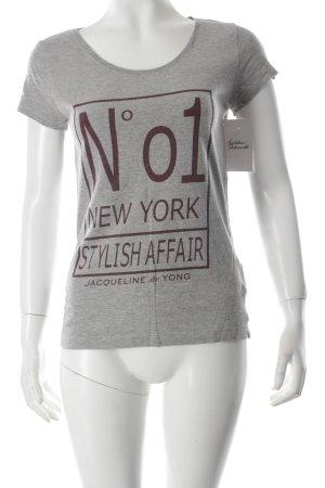 Jacqueline de Yong T-Shirt grau Schriftzug gedruckt Casual-Look