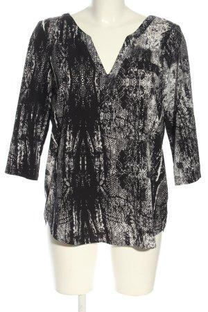 Jacqueline De Young Schlupf-Bluse schwarz-weiß abstraktes Muster Casual-Look