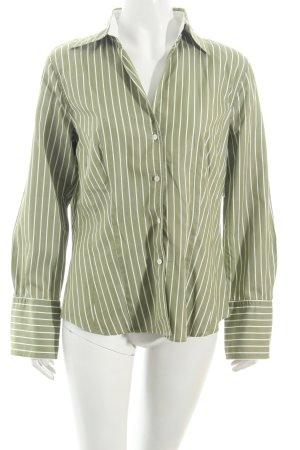Jacques britt Hemd-Bluse olivgrün-weiß Streifenmuster Business-Look